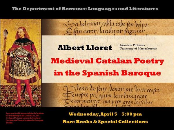 Lloret Medieval Catalan Poetry In The Spanish Baroque