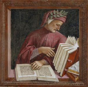 Luca Signorelli, Dante (detail), part. affresco della cappella di San Brizio, Duomo, Orvieto.