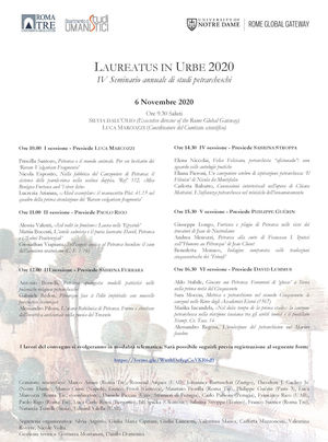 Program for the 4th Annual Seminar in Petrarch Studies, Laureatus in Urbe